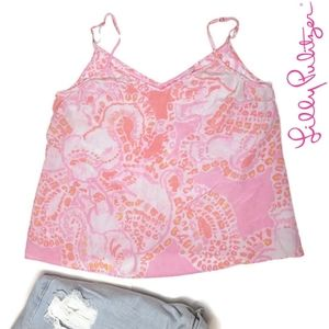 Lilly pulitzer silk trunk in love pixie tank top L